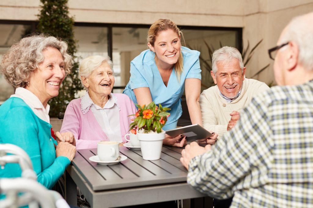 Group of seniors using tablet